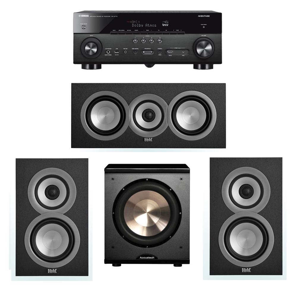 ELAC Uni-Fi 3.1 System with 2 ELAC UB5 Bookshelf Speakers, 1 ELAC UC5 Center Speaker, 1 BIC/Acoustech Platinum Series PL-200 Subwoofer, 1 Yamaha RX-A770 A/V Receiver