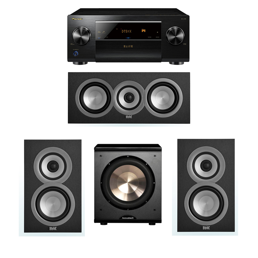 ELAC Uni-Fi 3.1 System with 2 ELAC UB5 Bookshelf Speakers, 1 UC5 Center Speaker, 1 BIC/Acoustech Platinum Series PL-200 Subwoofer, 1 Pioneer SC-LX701 A/V Receiver