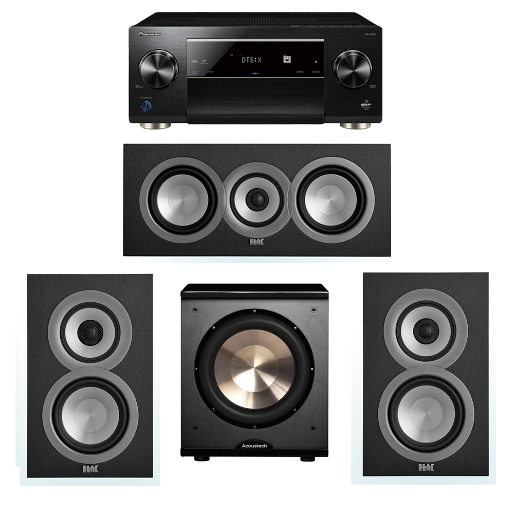 ELAC Uni-Fi 3.1 System with 2 ELAC UB5 Bookshelf Speakers, 1 UC5 Center Speaker, 1 BIC/Acoustech Platinum Series PL-200 Subwoofer, 1 Pioneer SC-LX901 A/V Receiver