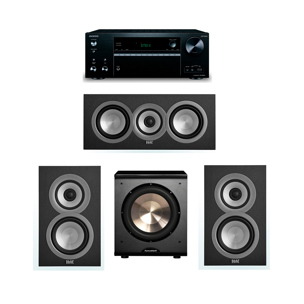 ELAC Uni-Fi 3.1 System with 2 UB5 Bookshelf Speakers, 1 UC5 Center Speaker, 1 BIC/Acoustech Platinum Series PL-200 Subwoofer, 1 Onkyo TX-NR676 A/V Receiver