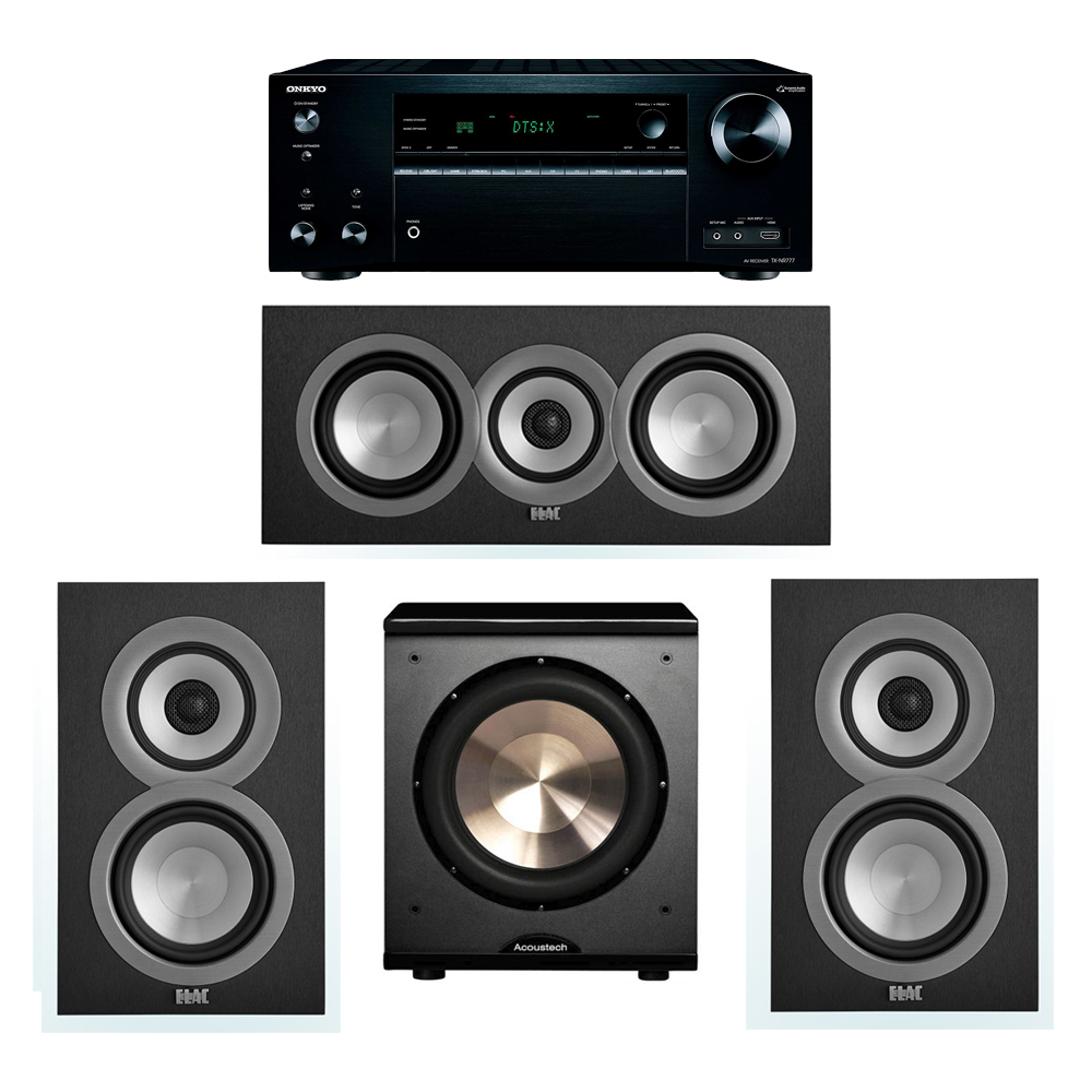 ELAC Uni-Fi 3.1 System with 2 UB5 Bookshelf Speakers, 1 UC5 Center Speaker, 1 BIC/Acoustech Platinum Series PL-200 Subwoofer, 1 Onkyo TX-NR777 A/V Receiver