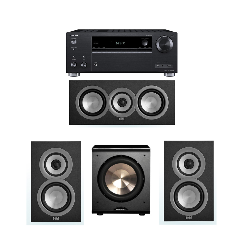 ELAC Uni-Fi 3.1 System with 2 UB5 Bookshelf Speakers, 1 UC5 Center Speaker, 1 BIC/Acoustech Platinum Series PL-200 Subwoofer, 1 Onkyo TX-RZ620 A/V Receiver