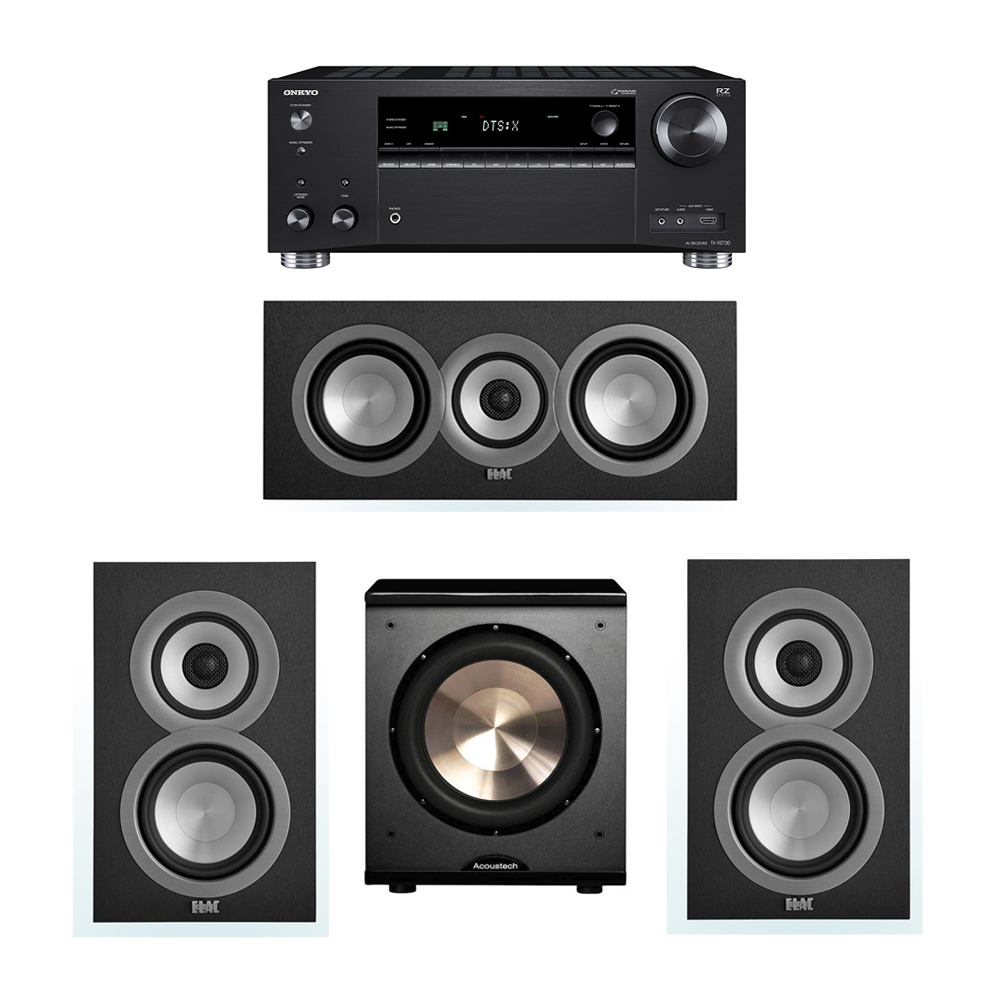 ELAC Uni-Fi 3.1 System with 2 UB5 Bookshelf Speakers, 1 UC5 Center Speaker, 1 BIC/Acoustech Platinum Series PL-200 Subwoofer, 1 Onkyo TX-RZ720 Receiver