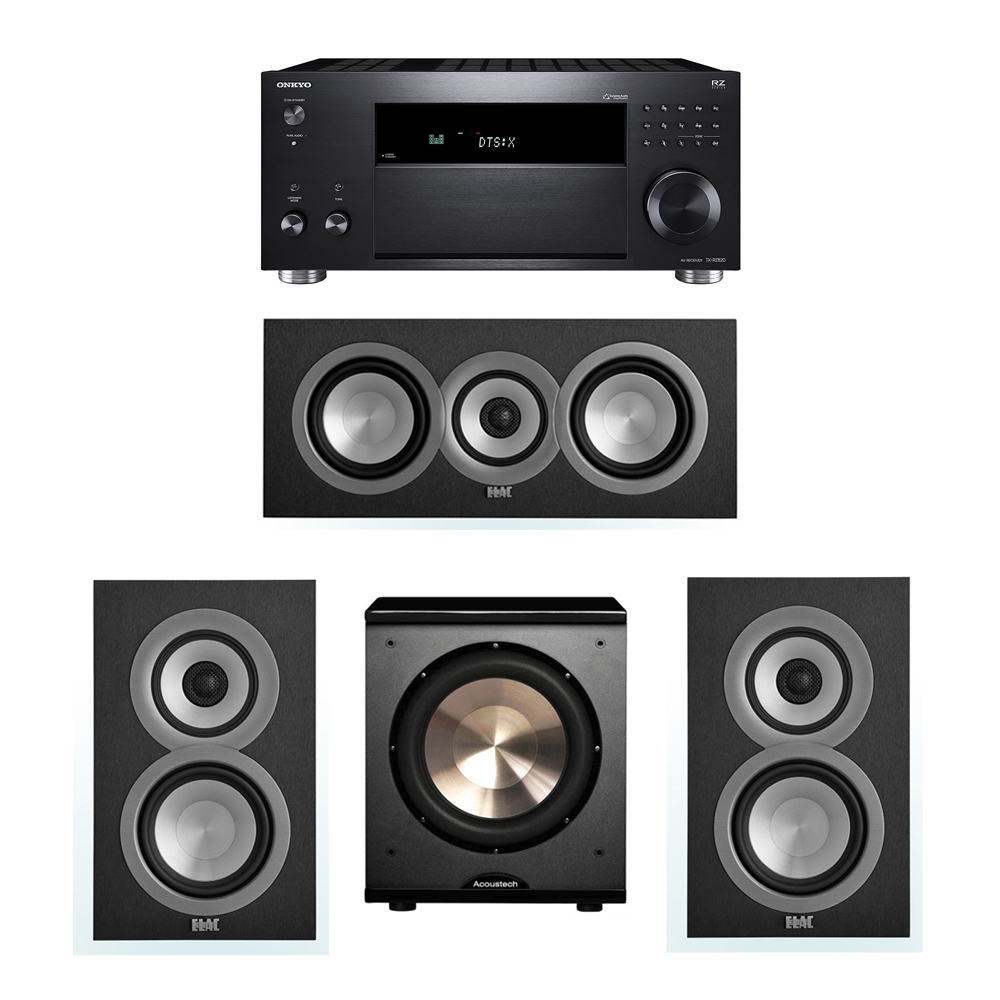 ELAC Uni-Fi 3.1 System with 2 UB5 Bookshelf Speakers, 1 UC5 Center Speaker, 1 BIC/Acoustech Platinum Series PL-200 Subwoofer, 1 Onkyo TX-RZ820 A/V Receiver