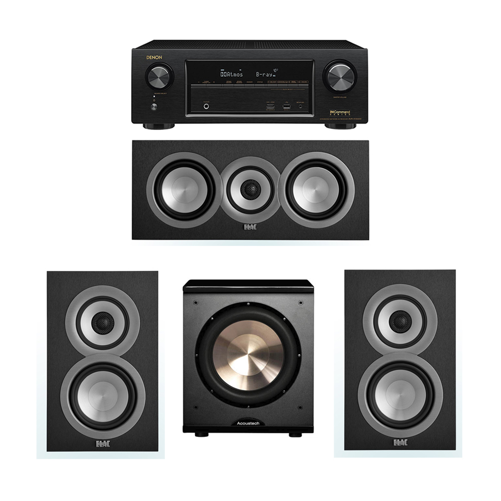 ELAC Uni-Fi 3.1 System with 2 ELAC UB5 Bookshelf Speakers, 1 ELAC UC5 Center Speaker, 1 BIC/Acoustech Platinum Series PL-200 Subwoofer, 1 Denon AVR-X1300W Receiver