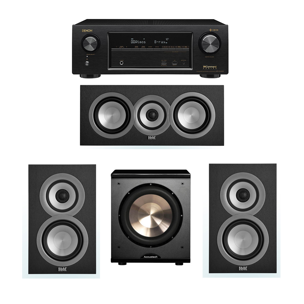 ELAC Uni-Fi 3.1 System with 2 ELAC UB5 Bookshelf Speakers, 1 ELAC UC5 Center Speaker, 1 BIC/Acoustech Platinum Series PL-200 Subwoofer, 1 Denon AVR-X1400H Receiver