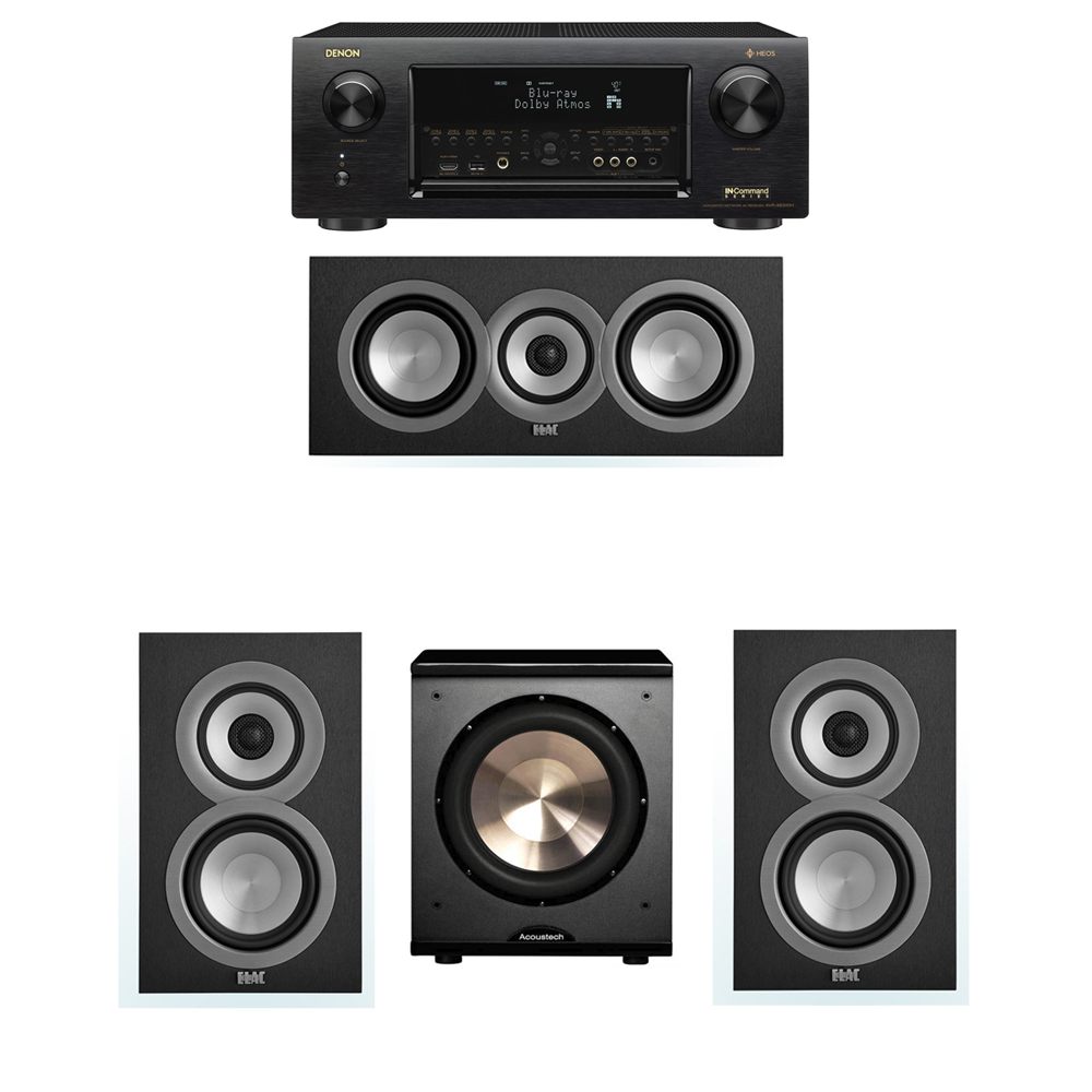 ELAC Uni-Fi 3.1 System with 2 ELAC UB5 Bookshelf Speakers, 1 ELAC UC5 Center Speaker, 1 BIC/Acoustech Platinum Series PL-200 Subwoofer, 1 Denon AVR-X6300H Receiver