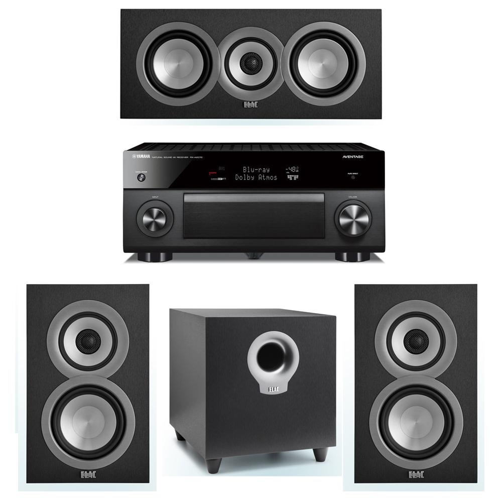 ELAC Uni-Fi 3.1 System with 2 ELAC UB5 Bookshelf Speakers, 1 ELAC UC5 Center Speaker, 1 ELAC Debut S10 Powered Subwoofer, 1 Yamaha RX-A2070 A/V Receiver