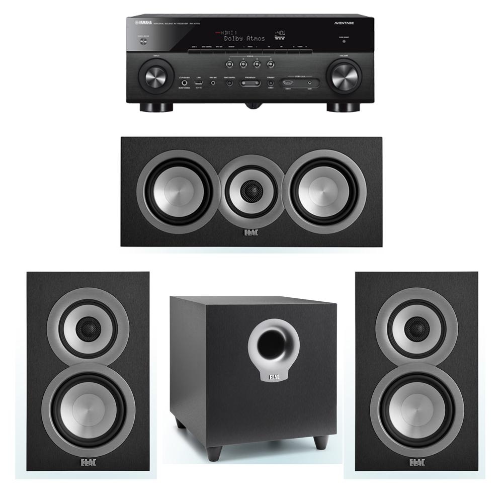 ELAC Uni-Fi 3.1 System with 2 ELAC UB5 Bookshelf Speakers, 1 ELAC UC5 Center Speaker, 1 ELAC Debut S10 Powered Subwoofer, 1 Yamaha RX-A770 A/V Receiver