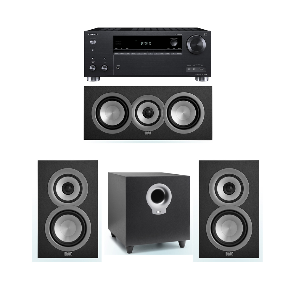 ELAC Uni-Fi 3.1 System with 2 UB5 Bookshelf Speakers, 1 UC5 Center Speaker, 1 ELAC Debut S10 Powered Subwoofer, 1 Onkyo TX-RZ620 A/V Receiver