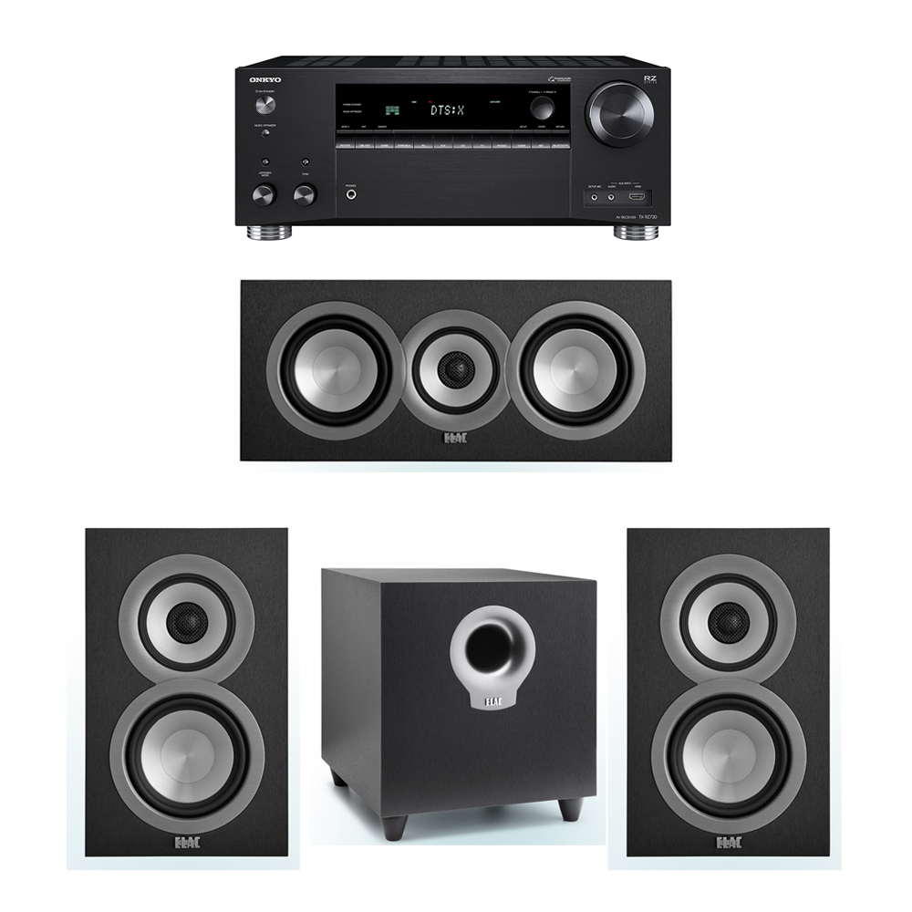 ELAC Uni-Fi 3.1 System with 2 UB5 Bookshelf Speakers, 1 UC5 Center Speaker, 1 ELAC Debut S10 Powered Subwoofer, 1 Onkyo TX-RZ720 Receiver