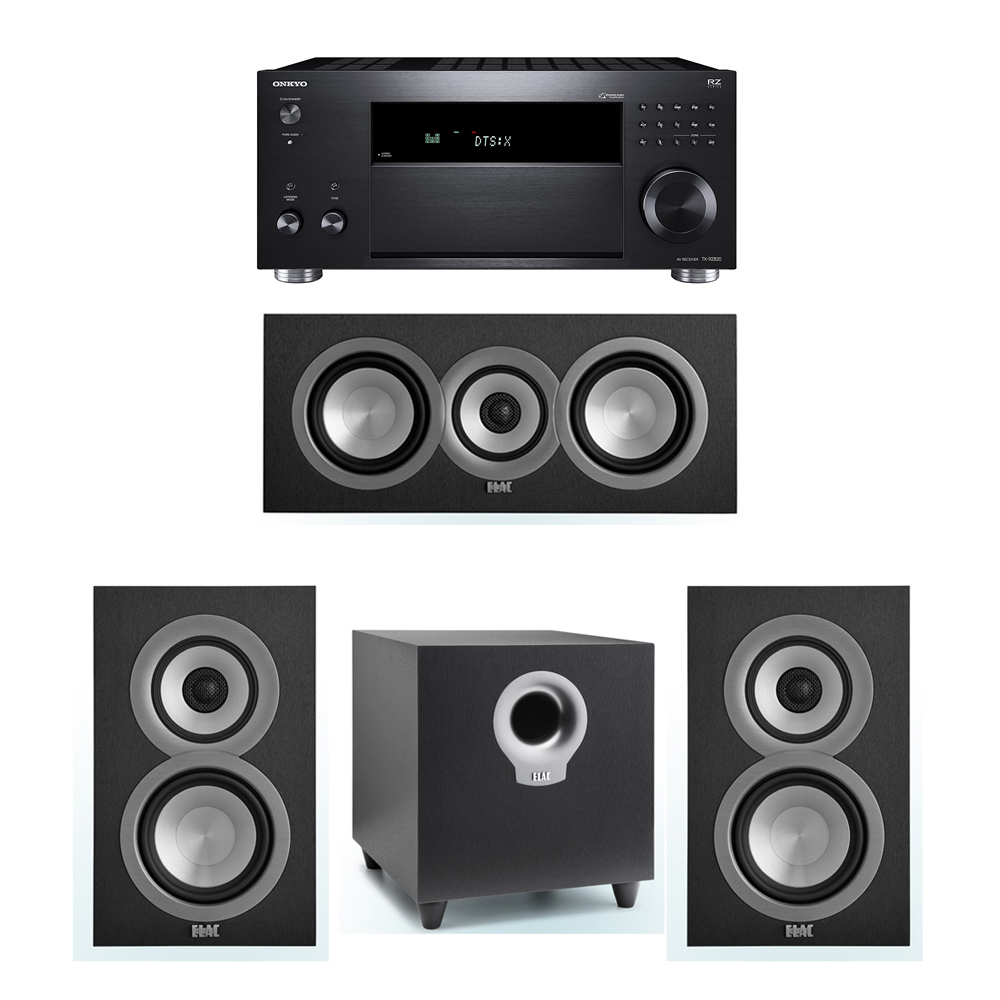 ELAC Uni-Fi 3.1 System with 2 UB5 Bookshelf Speakers, 1 UC5 Center Speaker, 1 ELAC Debut S10 Powered Subwoofer, 1 Onkyo TX-RZ820 A/V Receiver