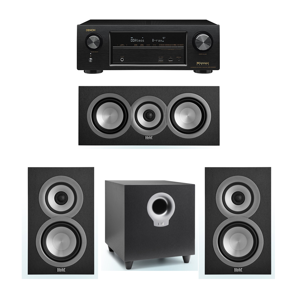 ELAC Uni-Fi 3.1 System with 2 ELAC UB5 Bookshelf Speakers, 1 ELAC UC5 Center Speaker, 1 ELAC Debut S10 Powered Subwoofer, 1 Denon AVR-X1300W Receiver
