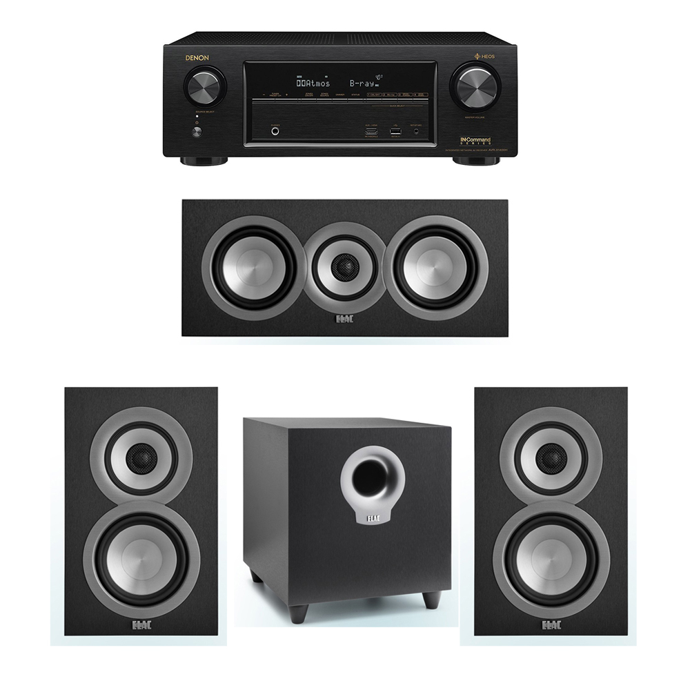 ELAC Uni-Fi 3.1 System with 2 ELAC UB5 Bookshelf Speakers, 1 ELAC UC5 Center Speaker, 1 ELAC Debut S10 Powered Subwoofer, 1 Denon AVR-X1400H Receiver