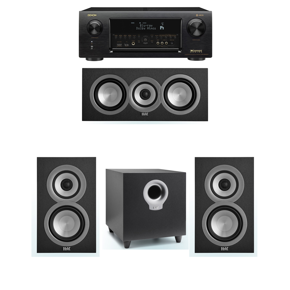 ELAC Uni-Fi 3.1 System with 2 ELAC UB5 Bookshelf Speakers, 1 ELAC UC5 Center Speaker, 1 ELAC Debut S10 Powered Subwoofer, 1 Denon AVR-X6300H Receiver