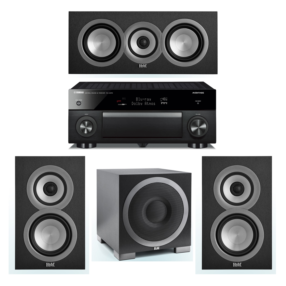 ELAC Uni-Fi 3.1 System with 2 ELAC UB5 Bookshelf Speakers, 1 ELAC UC5 Center Speaker, 1 ELAC Debut S10EQ Powered Subwoofer, 1 Yamaha RX-A1070 A/V Receiver