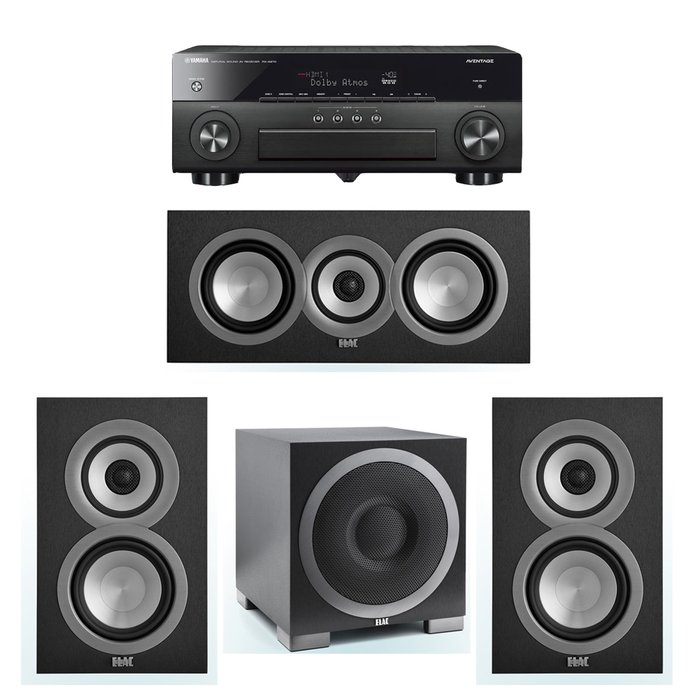 ELAC Uni-Fi 3.1 System with 2 ELAC UB5 Bookshelf Speakers, 1 ELAC UC5 Center Speaker, 1 ELAC Debut S10EQ Powered Subwoofer, 1 Yamaha RX-A870 A/V Receiver