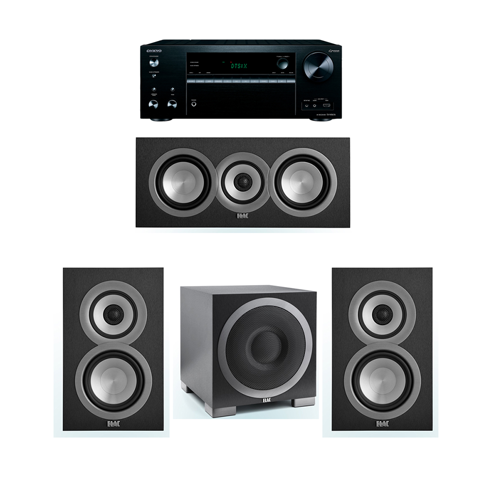 ELAC Uni-Fi 3.1 System with 2 UB5 Bookshelf Speakers, 1 UC5 Center Speaker, 1 ELAC Debut S10EQ Powered Subwoofer, 1 Onkyo TX-NR676 A/V Receiver