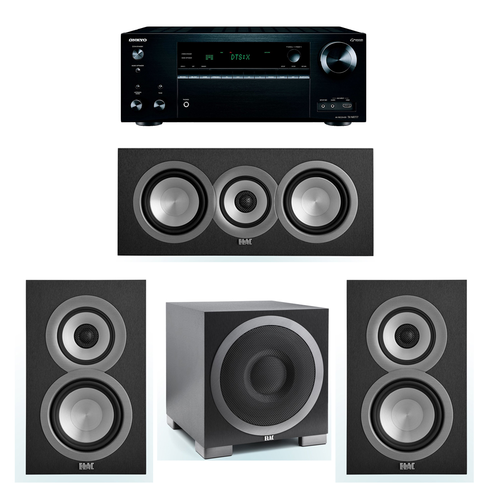 ELAC Uni-Fi 3.1 System with 2 UB5 Bookshelf Speakers, 1 UC5 Center Speaker, 1 ELAC Debut S10EQ Powered Subwoofer, 1 Onkyo TX-NR777 A/V Receiver