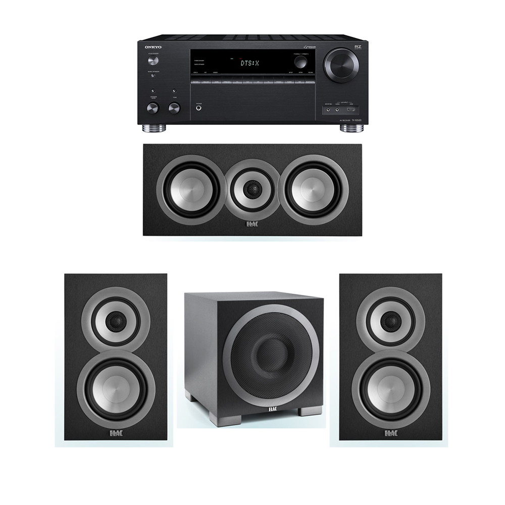ELAC Uni-Fi 3.1 System with 2 UB5 Bookshelf Speakers, 1 UC5 Center Speaker, 1 ELAC Debut S10EQ Powered Subwoofer, 1 Onkyo TX-RZ620 A/V Receiver