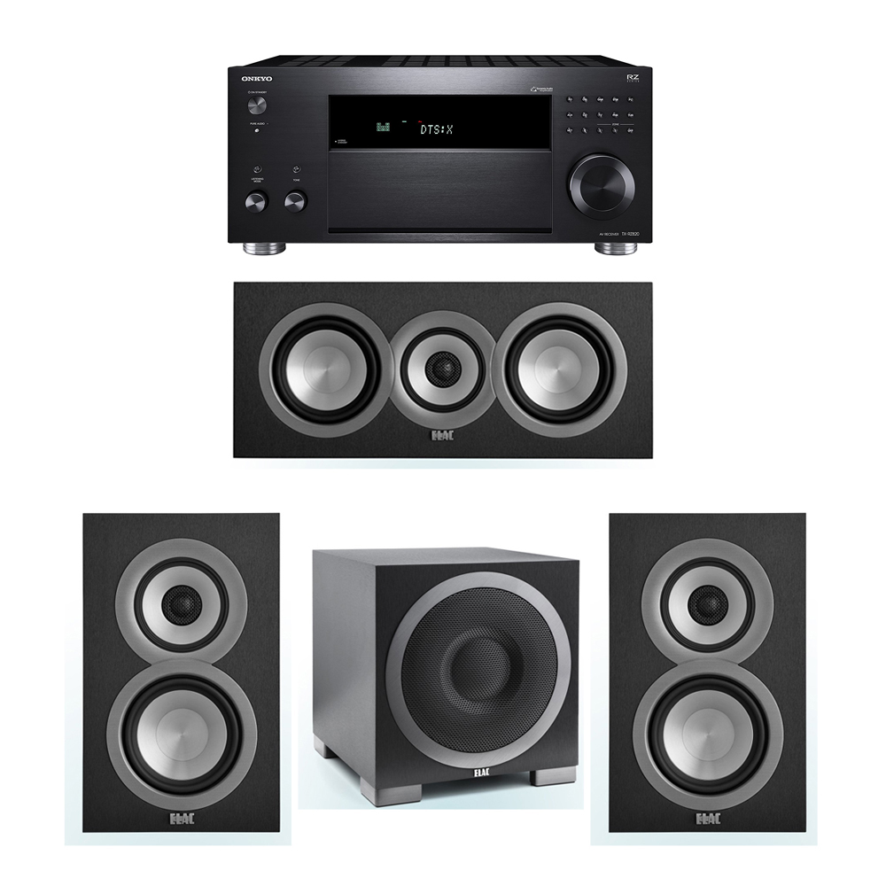 ELAC Uni-Fi 3.1 System with 2 UB5 Bookshelf Speakers, 1 UC5 Center Speaker, 1 ELAC Debut S10EQ Powered Subwoofer, 1 Onkyo TX-RZ820 A/V Receiver