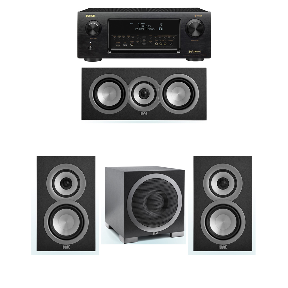 ELAC Uni-Fi 3.1 System with 2 ELAC UB5 Bookshelf Speakers, 1 ELAC UC5 Center Speaker, 1 ELAC Debut S10EQ Powered Subwoofer, 1 Denon AVR-X6300H Receiver