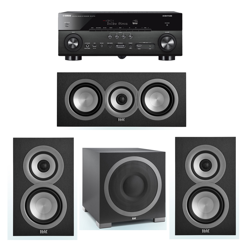 ELAC Uni-Fi 3.1 System with 2 ELAC UB5 Bookshelf Speakers, 1 ELAC UC5 Center Speaker, 1 ELAC Debut S12EQ Powered Subwoofer, 1 Yamaha RX-A770 A/V Receiver