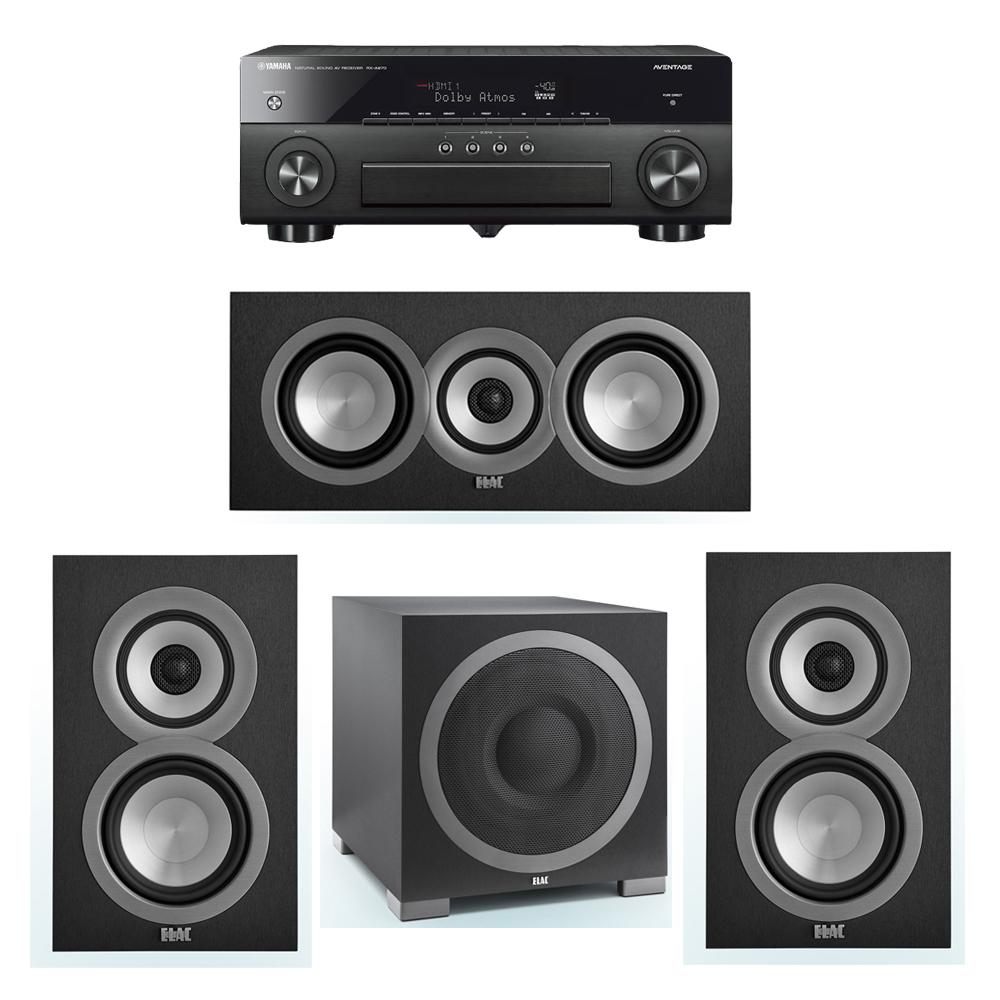 ELAC Uni-Fi 3.1 System with 2 ELAC UB5 Bookshelf Speakers, 1 ELAC UC5 Center Speaker, 1 ELAC Debut S12EQ Powered Subwoofer, 1 Yamaha RX-A870 A/V Receiver