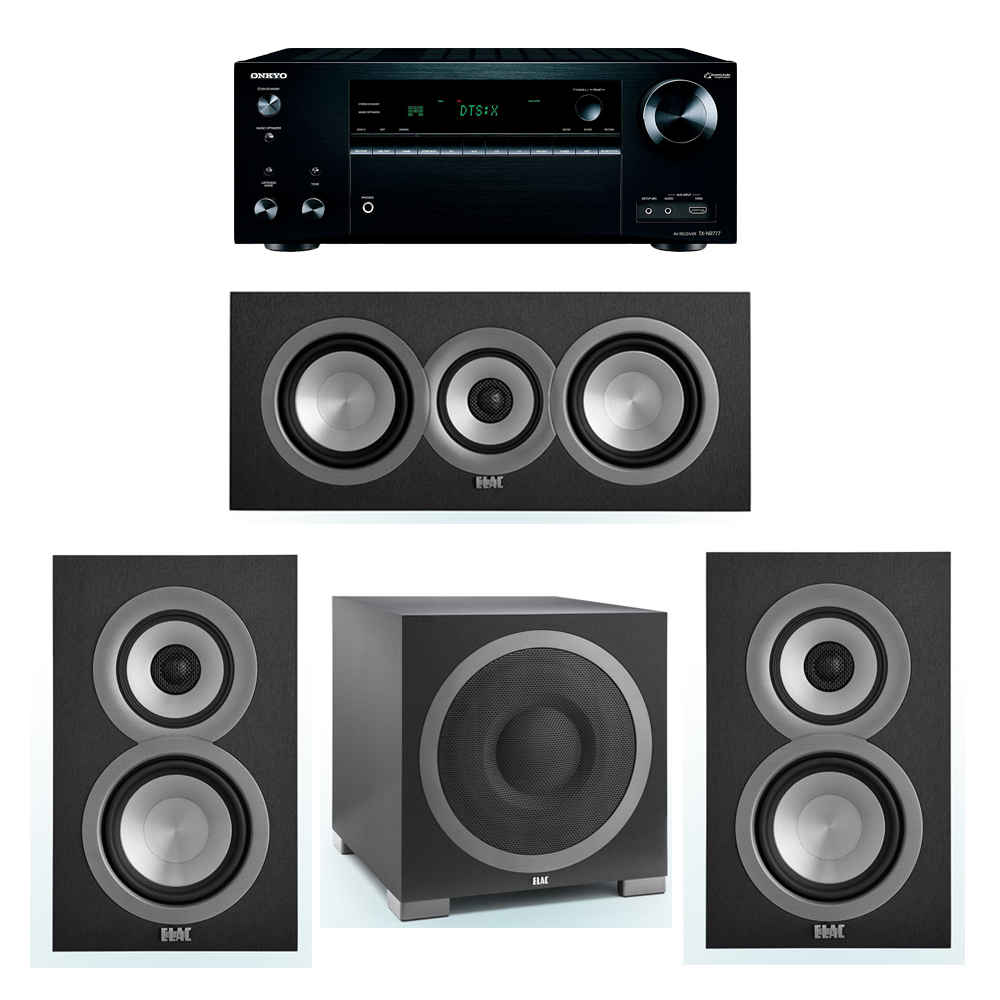 ELAC Uni-Fi 3.1 System with 2 UB5 Bookshelf Speakers, 1 UC5 Center Speaker, 1 ELAC Debut S12EQ Powered Subwoofer, 1 Onkyo TX-NR777 A/V Receiver