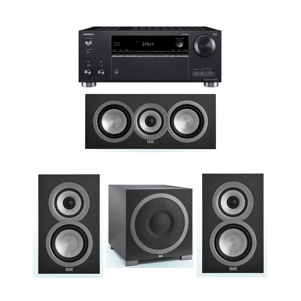 ELAC Uni-Fi 3.1 System with 2 UB5 Bookshelf Speakers, 1 UC5 Center Speaker, 1 ELAC Debut S12EQ Powered Subwoofer, 1 Onkyo TX-RZ620 A/V Receiver