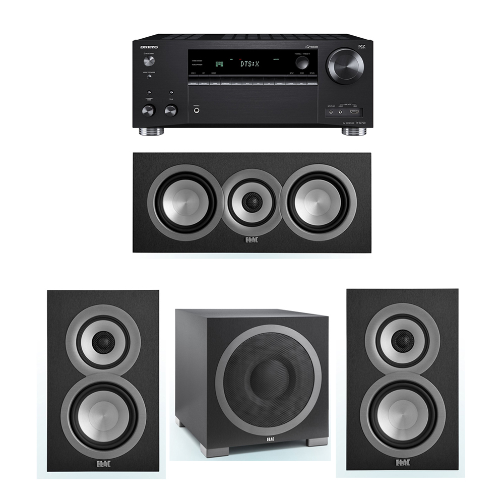 ELAC Uni-Fi 3.1 System with 2 UB5 Bookshelf Speakers, 1 UC5 Center Speaker, 1 ELAC Debut S12EQ Powered Subwoofer, 1 Onkyo TX-RZ720 Receiver