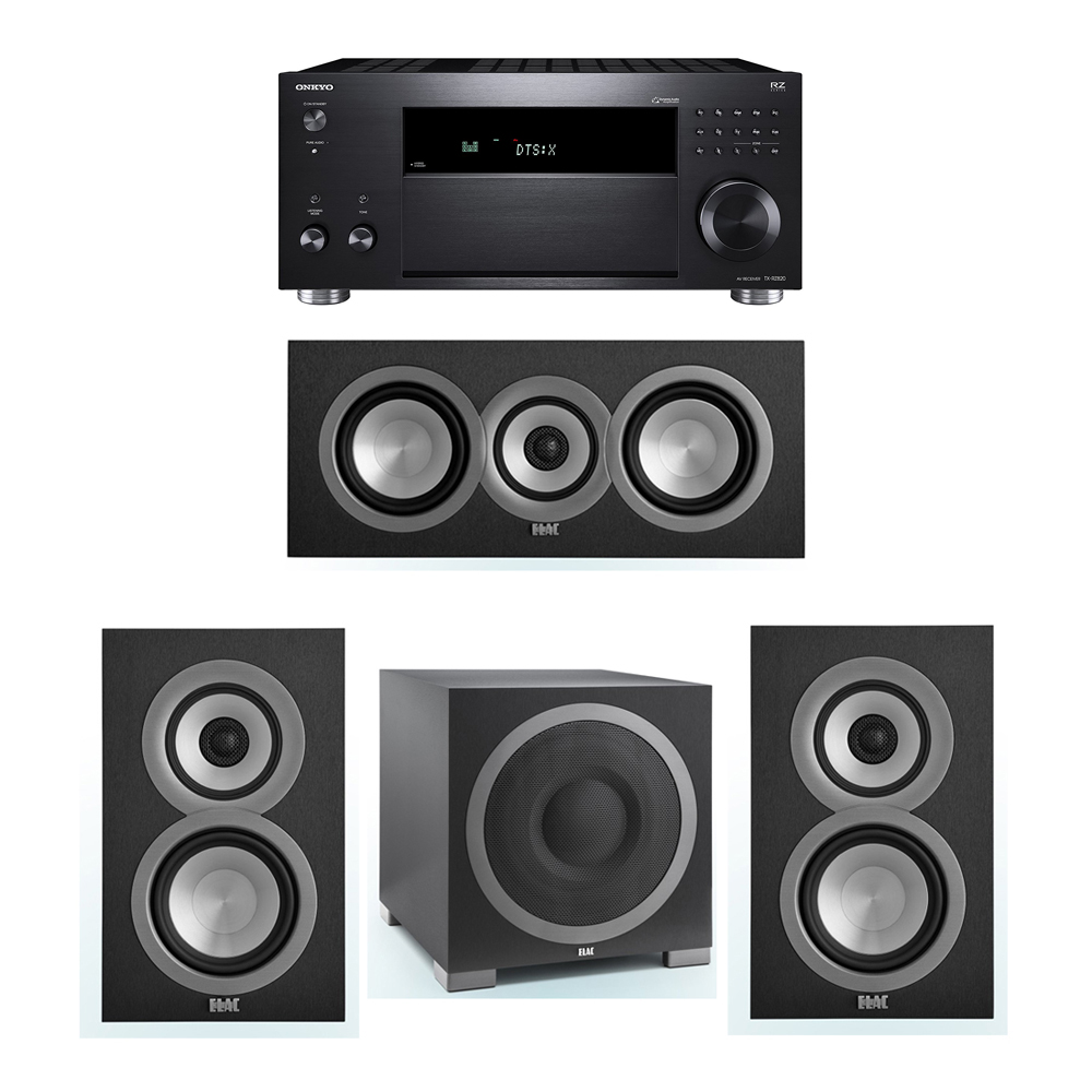 ELAC Uni-Fi 3.1 System with 2 UB5 Bookshelf Speakers, 1 UC5 Center Speaker, 1 ELAC Debut S12EQ Powered Subwoofer, 1 Onkyo TX-RZ820 A/V Receiver