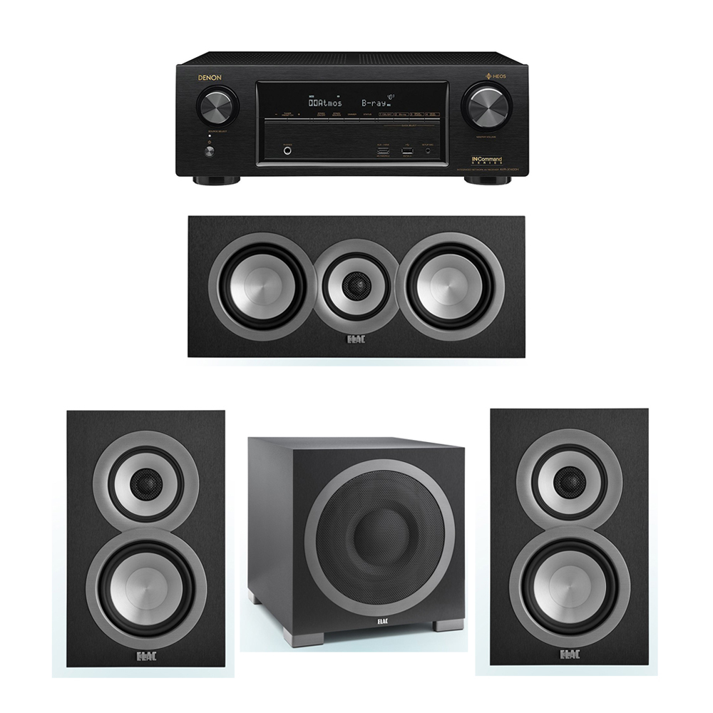 ELAC Uni-Fi 3.1 System with 2 ELAC UB5 Bookshelf Speakers, 1 ELAC UC5 Center Speaker, 1 ELAC Debut S12EQ Powered Subwoofer, 1 Denon AVR-X1400H Receiver