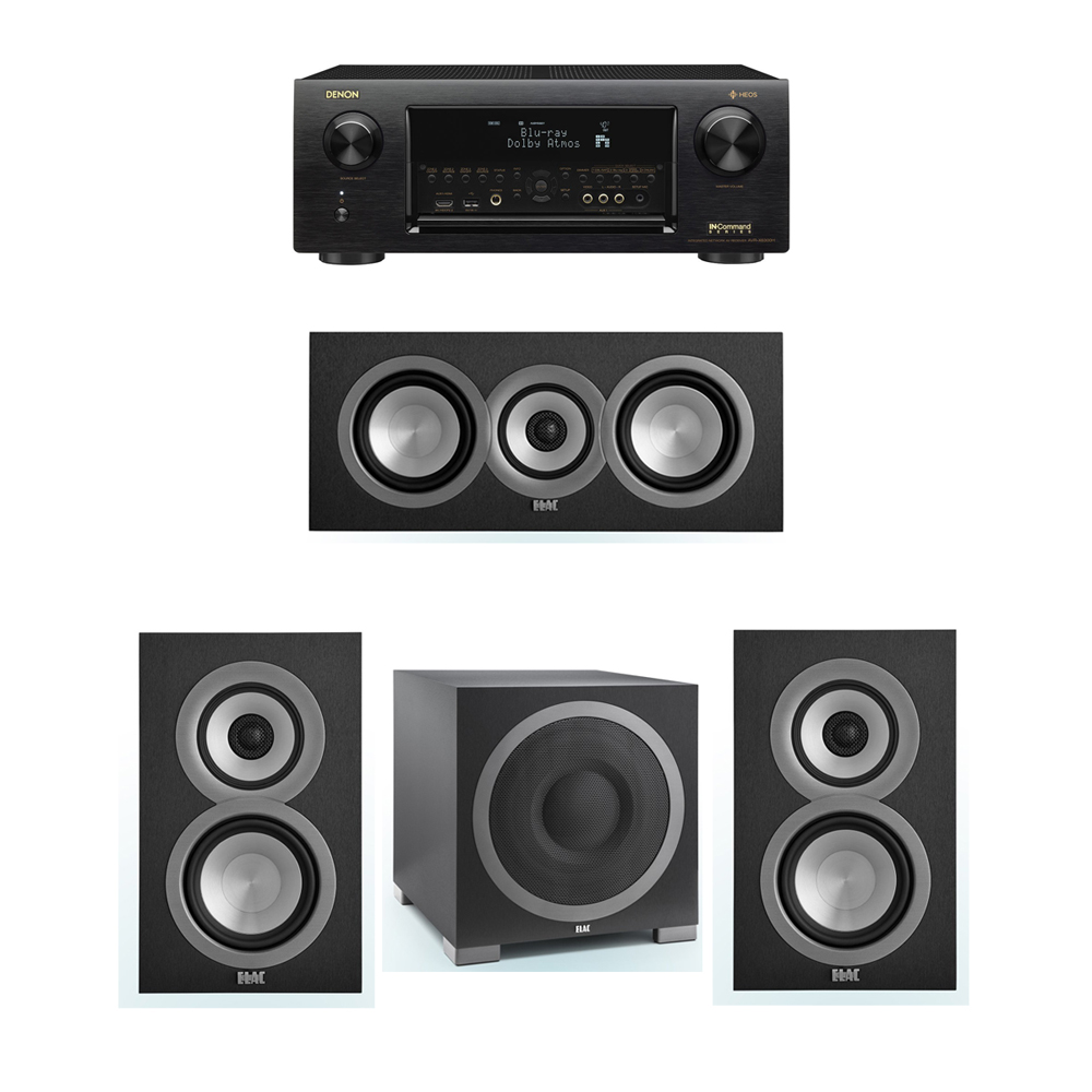 ELAC Uni-Fi 3.1 System with 2 ELAC UB5 Bookshelf Speakers, 1 ELAC UC5 Center Speaker, 1 ELAC Debut S12EQ Powered Subwoofer, 1 Denon AVR-X6300H Receiver