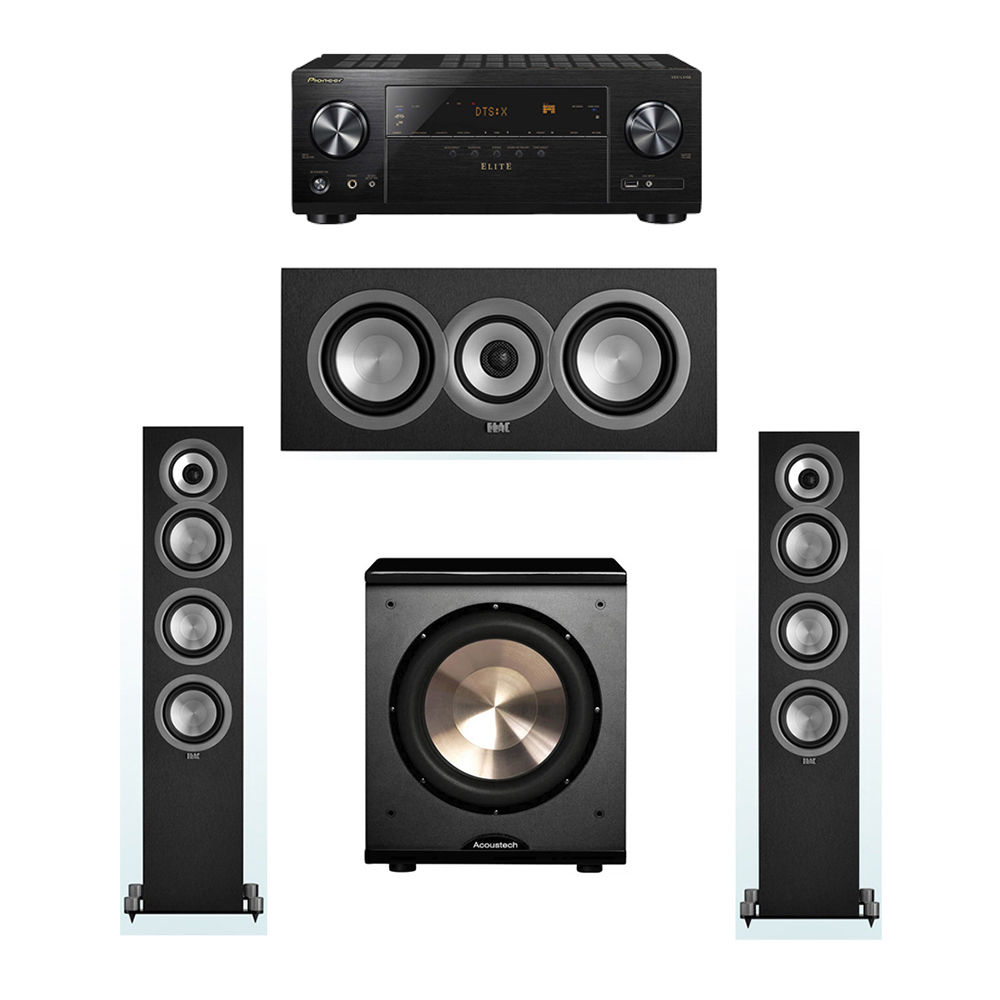 ELAC Uni-Fi 3.1 System with 2 ELAC UF5 Floorstanding Speakers, 1 UC5 Center Speaker, 1 BIC/Acoustech Platinum Series PL-200 Subwoofer, 1 Pioneer VSX-LX102 A/V Receiver