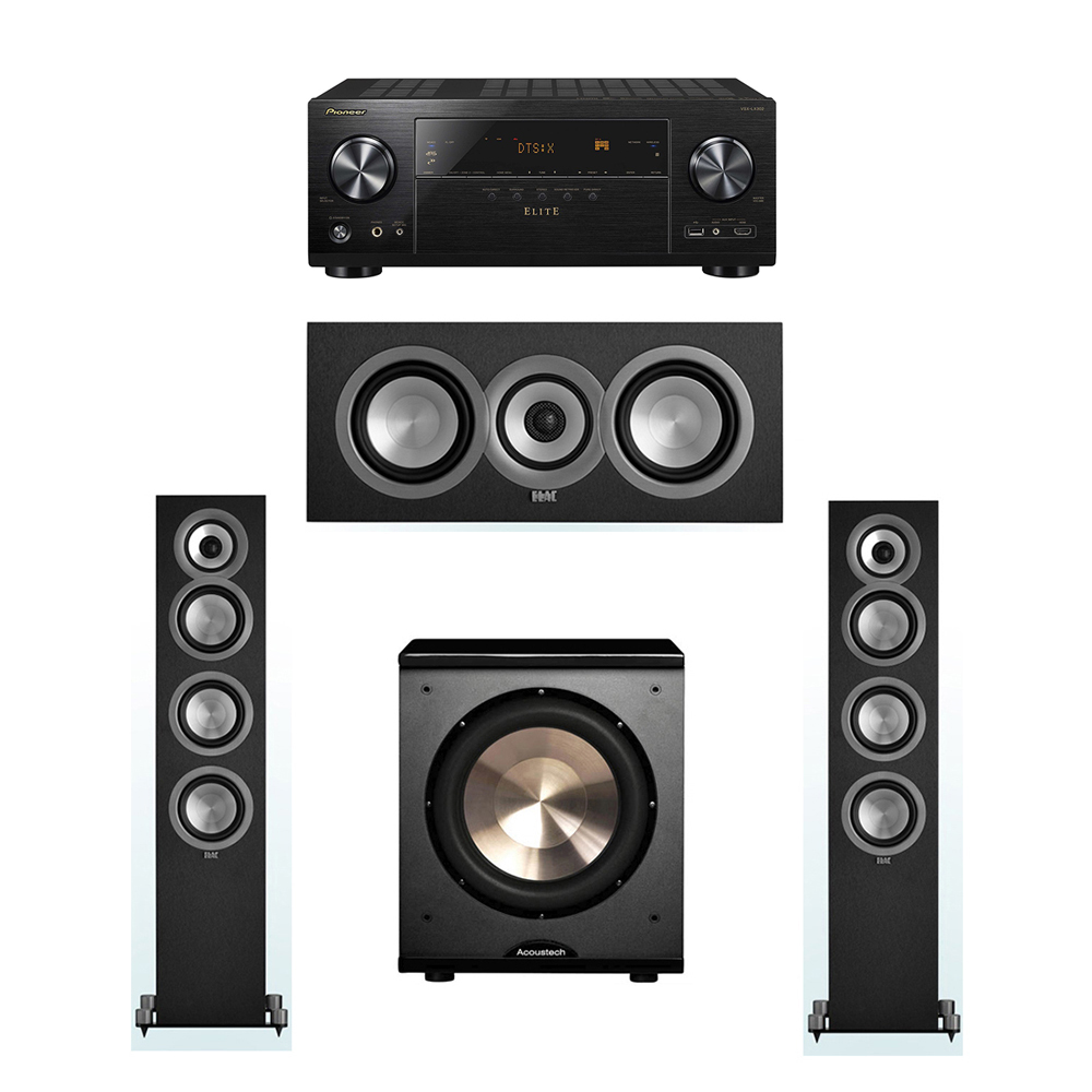 ELAC Uni-Fi 3.1 System with 2 ELAC UF5 Floorstanding Speakers, 1 UC5 Center Speaker, 1 BIC/Acoustech Platinum Series PL-200 Subwoofer, 1 Pioneer VSX-LX302 A/V Receiver
