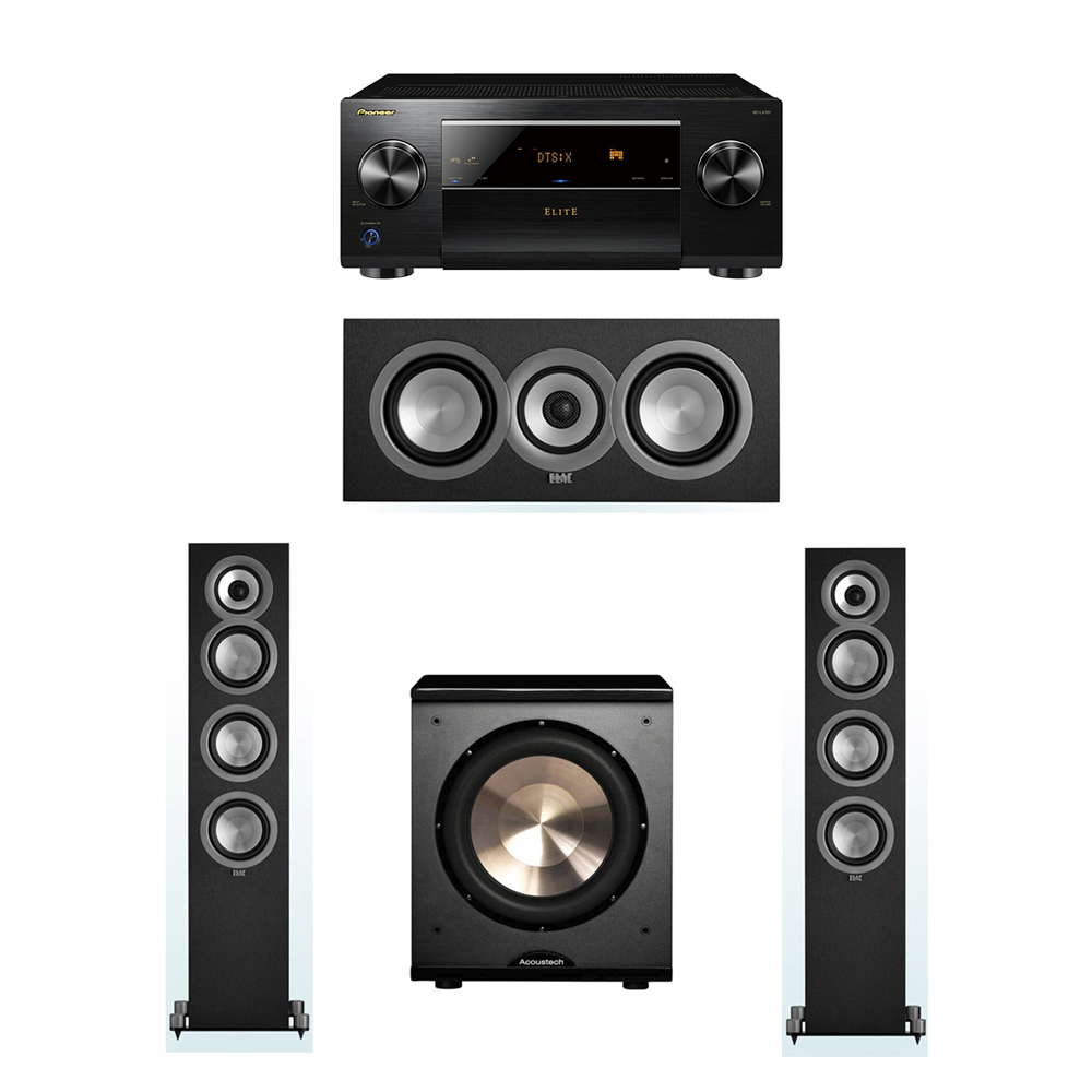 ELAC Uni-Fi 3.1 System with 2 ELAC UF5 Floorstanding Speakers, 1 UC5 Center Speaker, 1 BIC/Acoustech Platinum Series PL-200 Subwoofer, 1 Pioneer SC-LX701 A/V Receiver