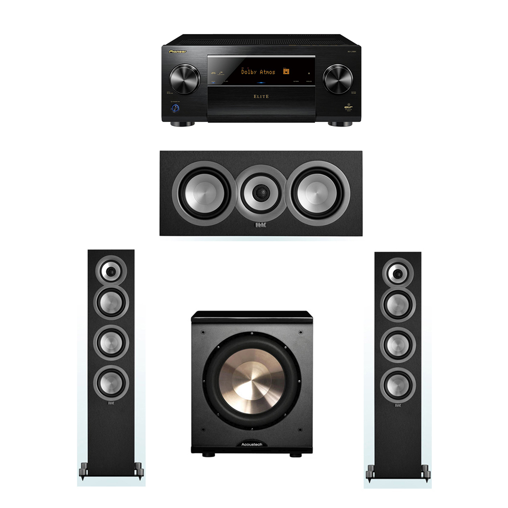ELAC Uni-Fi 3.1 System with 2 ELAC UF5 Floorstanding Speakers, 1 UC5 Center Speaker, 1 BIC/Acoustech Platinum Series PL-200 Subwoofer, 1 Pioneer SC-LX801 A/V Receiver