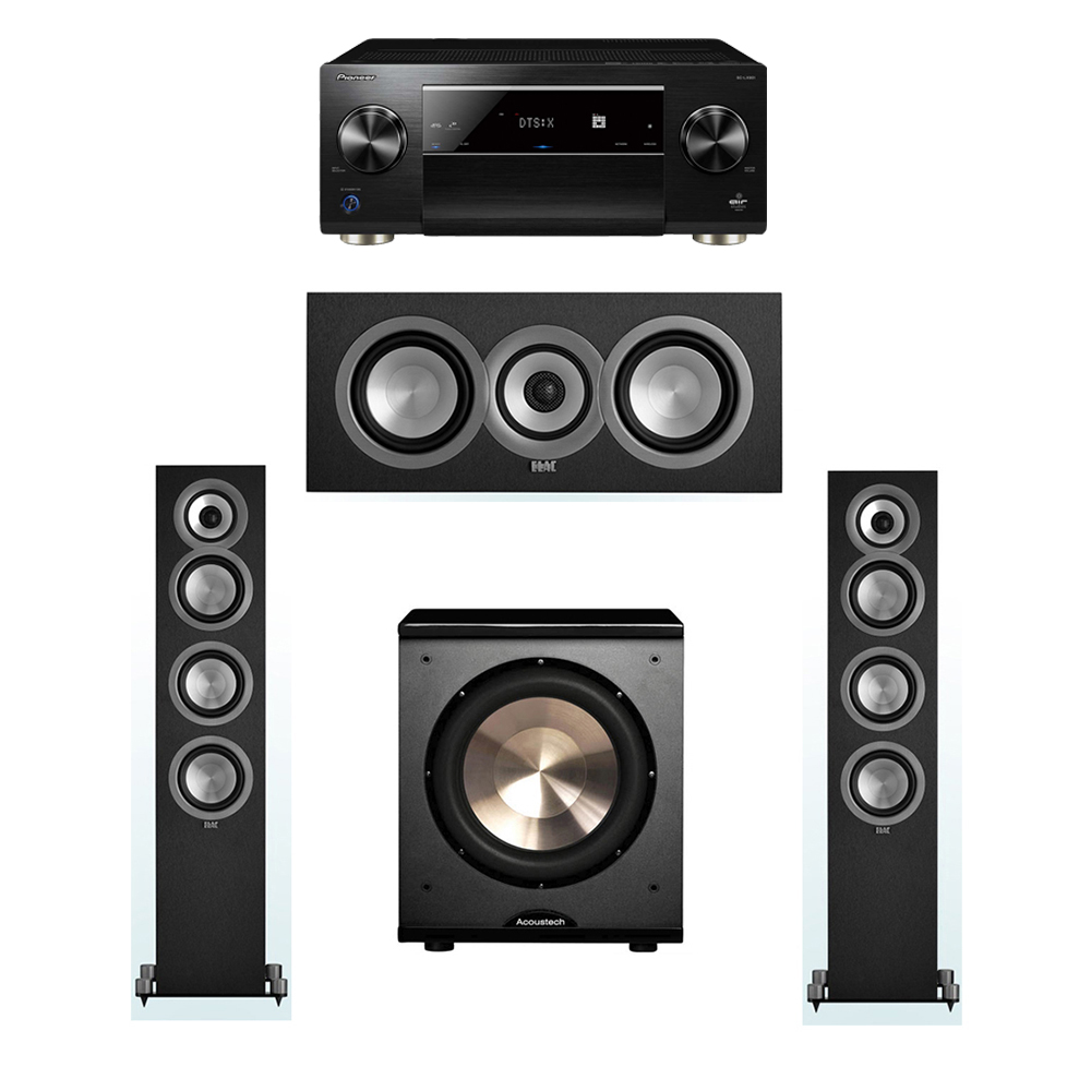 ELAC Uni-Fi 3.1 System with 2 ELAC UF5 Floorstanding Speakers, 1 UC5 Center Speaker, 1 BIC/Acoustech Platinum Series PL-200 Subwoofer, 1 Pioneer SC-LX901 A/V Receiver