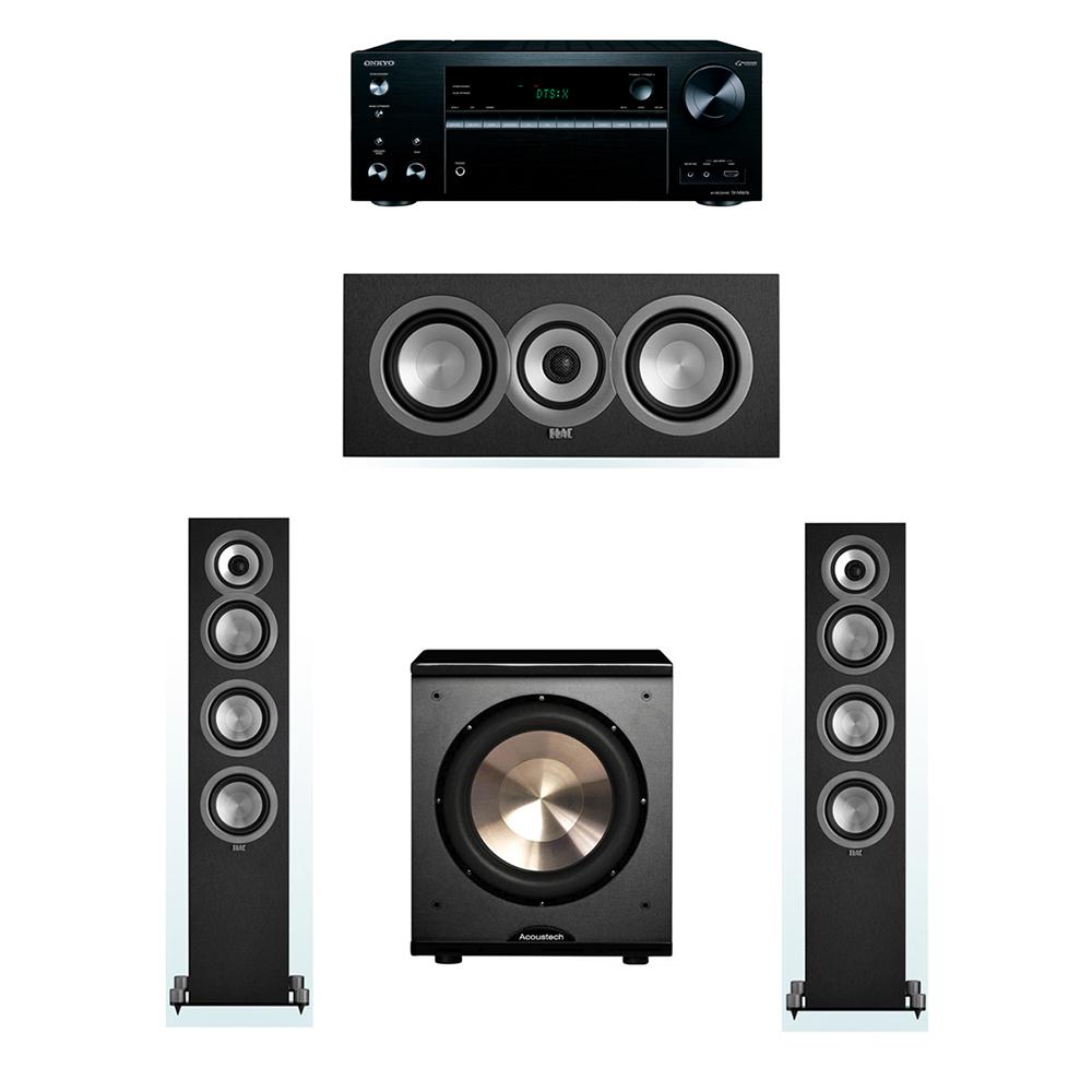 ELAC Uni-Fi 3.1 System with 2 UF5 Floorstanding Speakers, 1 UC5 Center Speaker, 1 BIC/Acoustech Platinum Series PL-200 Subwoofer, 1 Onkyo TX-NR676 A/V Receiver
