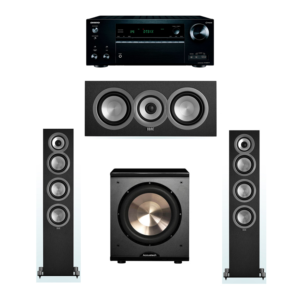 ELAC Uni-Fi 3.1 System with 2 UF5 Floorstanding Speakers, 1 UC5 Center Speaker, 1 BIC/Acoustech Platinum Series PL-200 Subwoofer, 1 Onkyo TX-NR777 A/V Receiver
