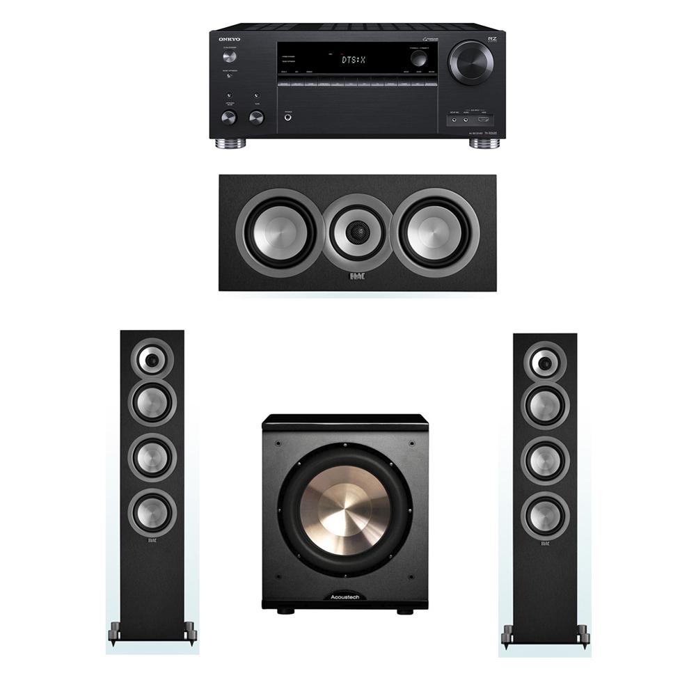 ELAC Uni-Fi 3.1 System with 2 UF5 Floorstanding Speakers, 1 UC5 Center Speaker, 1 BIC/Acoustech Platinum Series PL-200 Subwoofer, 1 Onkyo TX-RZ620 A/V Receiver