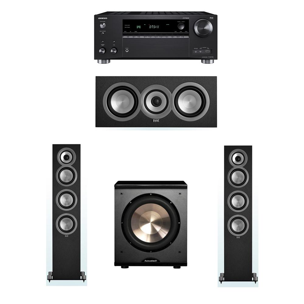 ELAC Uni-Fi 3.1 System with 2 UF5 Floorstanding Speakers, 1 UC5 Center Speaker, 1 BIC/Acoustech Platinum Series PL-200 Subwoofer, 1 Onkyo TX-RZ720 Receiver