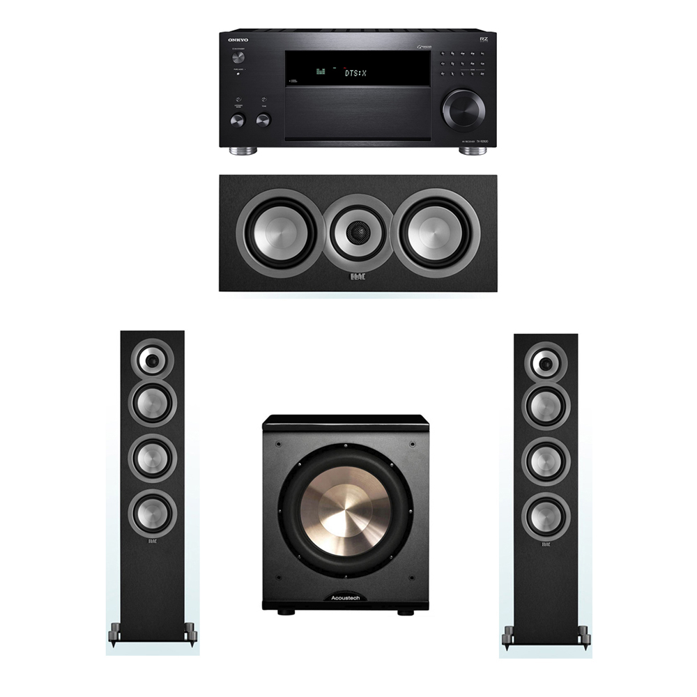 ELAC Uni-Fi 3.1 System with 2 UF5 Floorstanding Speakers, 1 UC5 Center Speaker, 1 BIC/Acoustech Platinum Series PL-200 Subwoofer, 1 Onkyo TX-RZ820 A/V Receiver