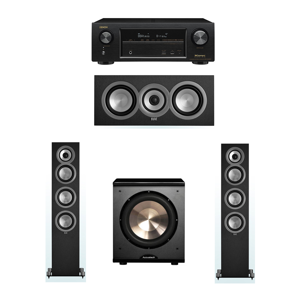ELAC Uni-Fi 3.1 System with 2 ELAC UF5 Floorstanding Speakers, 1 ELAC UC5 Center Speaker, 1 BIC/Acoustech Platinum Series PL-200 Subwoofer, 1 Denon AVR-X1300W Receiver