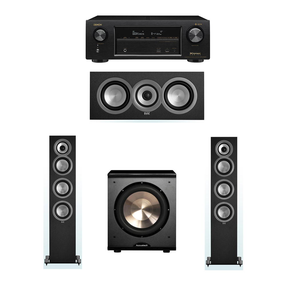 ELAC Uni-Fi 3.1 System with 2 ELAC UF5 Floorstanding Speakers, 1 ELAC UC5 Center Speaker, 1 BIC/Acoustech Platinum Series PL-200 Subwoofer, 1 Denon AVR-X1400H Receiver