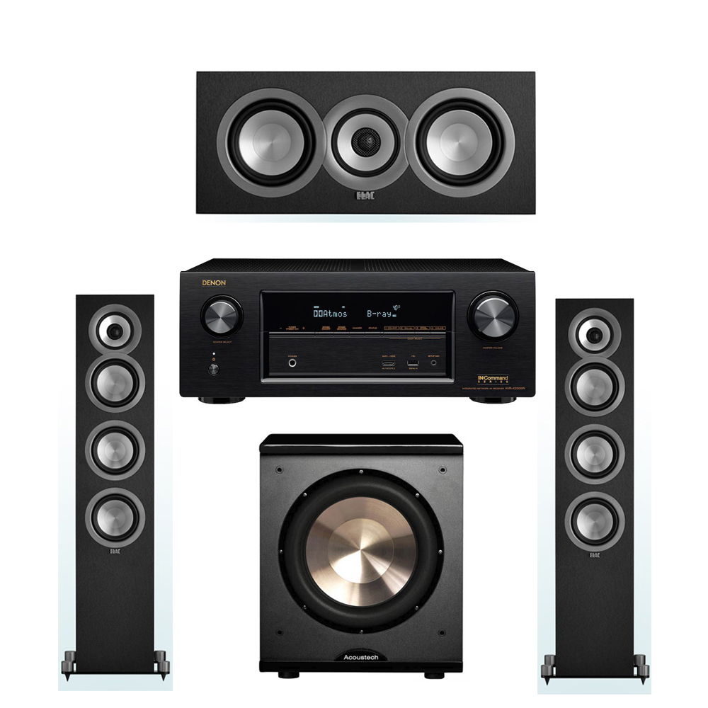 ELAC Uni-Fi 3.1 System with 2 ELAC UF5 Floorstanding Speakers, 1 ELAC UC5 Center Speaker, 1 BIC/Acoustech Platinum Series PL-200 Subwoofer, 1 Denon AVR-X2300W A/V Receiver