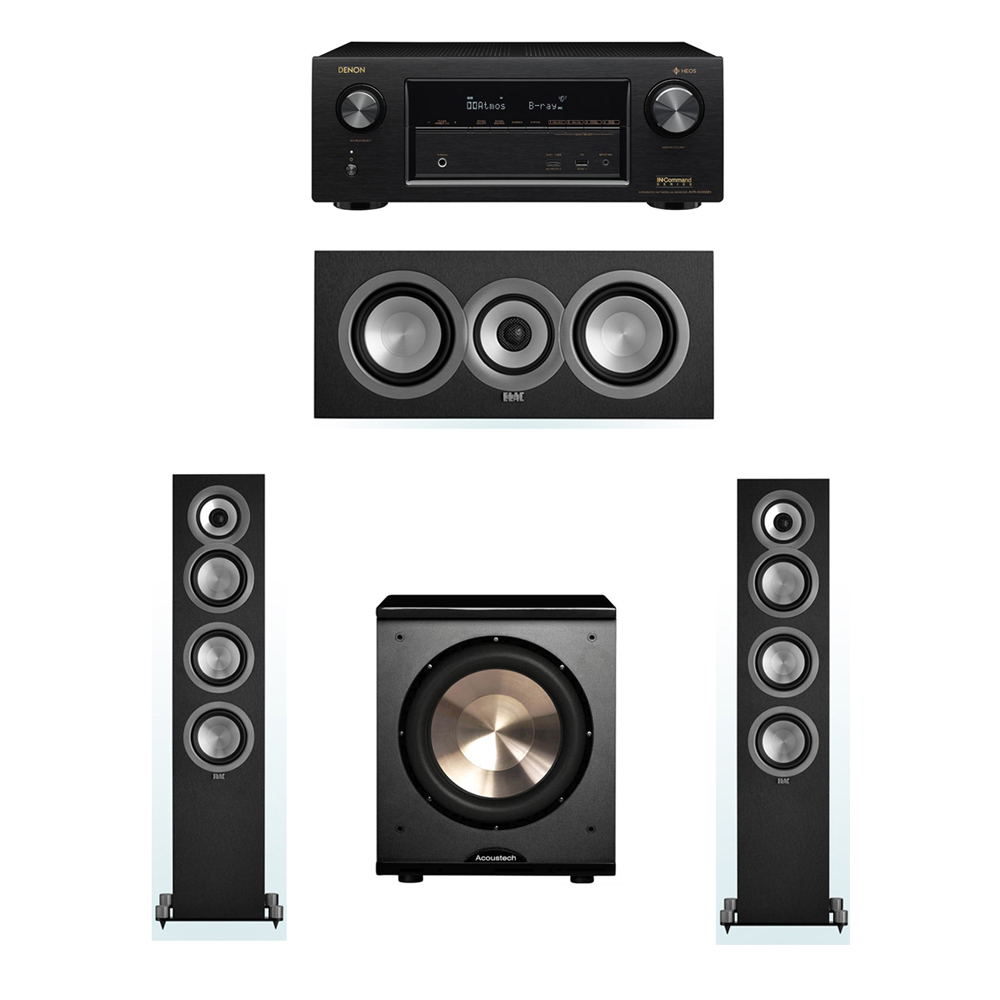 ELAC Uni-Fi 3.1 System with 2 ELAC UF5 Floorstanding Speakers, 1 ELAC UC5 Center Speaker, 1 BIC/Acoustech Platinum Series PL-200 Subwoofer, 1 Denon AVR-X2400H A/V Receiver