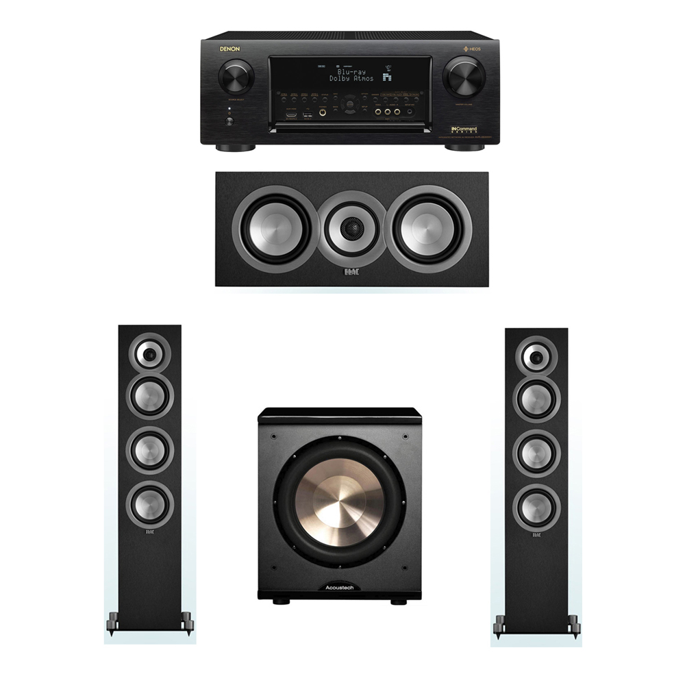 ELAC Uni-Fi 3.1 System with 2 ELAC UF5 Floorstanding Speakers, 1 ELAC UC5 Center Speaker, 1 BIC/Acoustech Platinum Series PL-200 Subwoofer, 1 Denon AVR-X6300H Receiver
