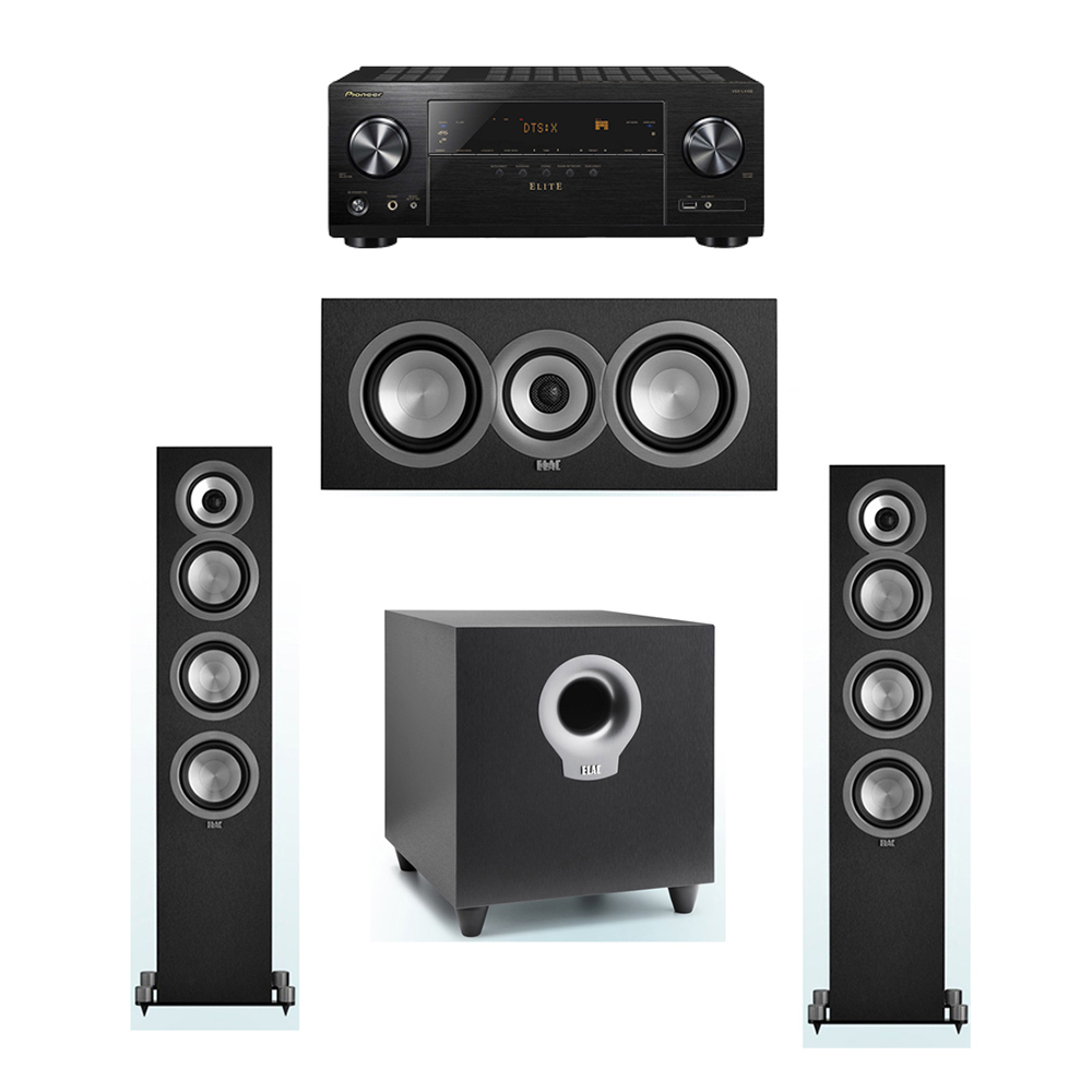 ELAC Uni-Fi 3.1 System with 2 ELAC UF5 Floorstanding Speakers, 1 UC5 Center Speaker, 1 ELAC Debut S10 Powered Subwoofer, 1 Pioneer VSX-LX102 A/V Receiver